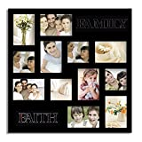Adeco PF0339 Black Wood ''Faith & Family'' Wall Hanging Collage Picture Photo Frame, 12 Openings, Two Sizes of 3.5x5, 3.5x3.5'' Images, Black
