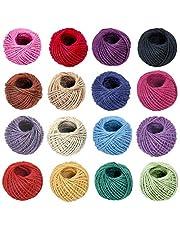 ANSIO Jute touw, 25M Tuintouw 3 ply 2 mm Dik, Perfect voor decoratie Tuin Bloemenkunde DIY Arts bundelen ambachten & wikkelen, Pak van 16 - Veelkleurig