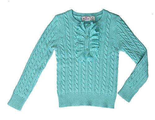 Ms Purple Girls' 100% Cotton Ruffle Sweater (Medium, Turquoise)
