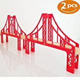 FLASH SALE | Double Suspension Bridge - Deluxe Wooden Toy Accessories For Kids Toddler Boys Girls - Compatible with Thomas Trains Railway, Brio Tracks, and Major Brands. 2x Red Bridges