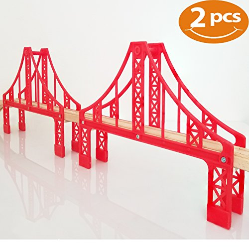 Brio Stop - FLASH SALE | Double Suspension Bridge - Deluxe Wooden Toy Accessories For Kids Toddler Boys Girls - Compatible with Thomas Trains Railway, Brio Tracks, and Major Brands. 2x Red Bridges