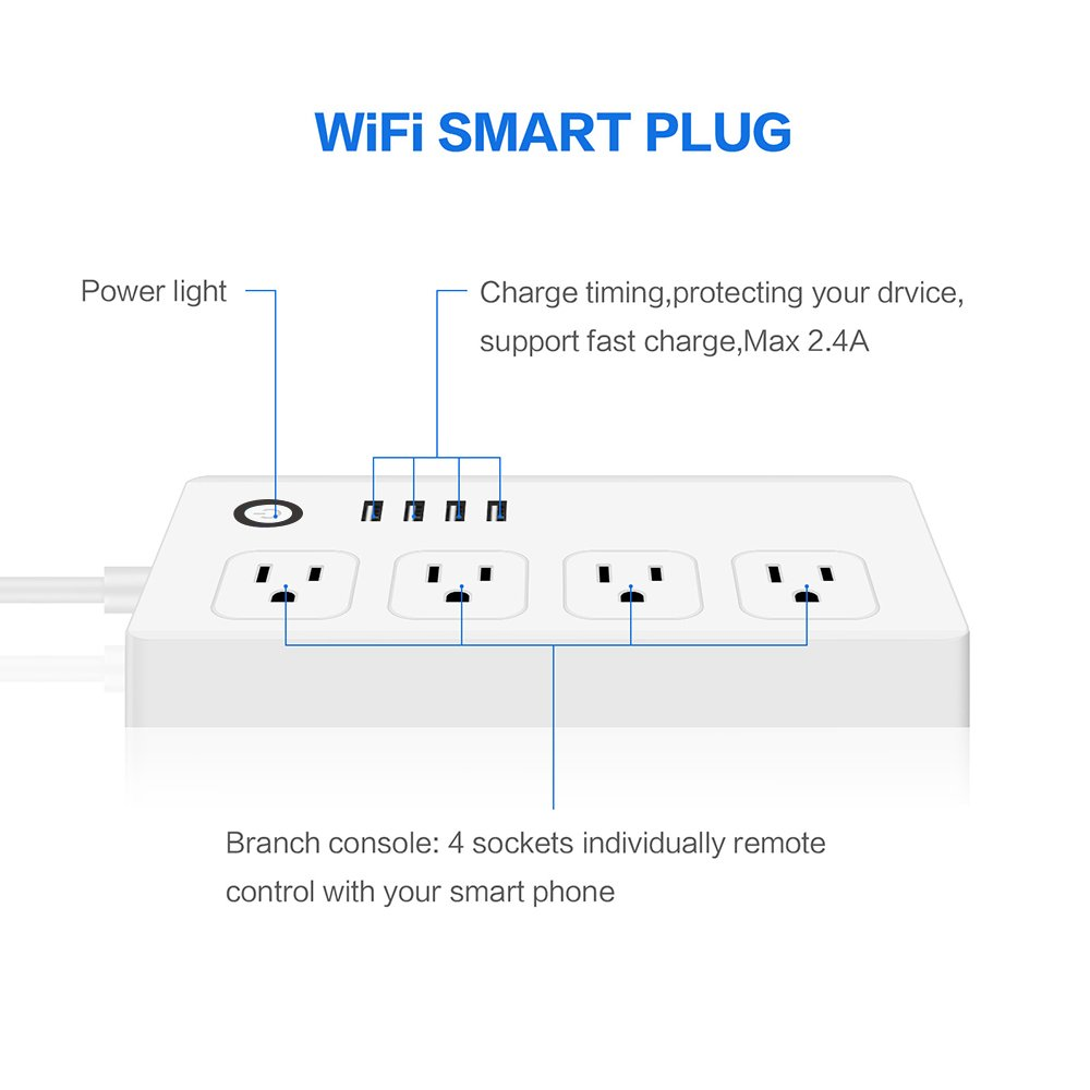 WiFi Smart Power Strip, GOXMGO Surge Protector with 4 USB Port and 4 Individually Controlled Smart Plug, Compatible with Alexa/Google Assistant, Timing Function, Remote Control by GOXMGO