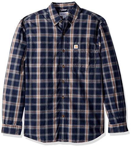 Carhartt Men's M Essential Plaid Button Down Long Sleeve Shirt, Navy, ()