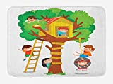Doormats Kids Bath Mat, Cheerful Little Boys Girl Playing in a Tree House