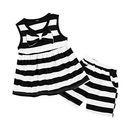 Lisin 2PC Children Kids Girls Striped Bowknot Pocket Dress+Short Set Outfits Clothes (Size:3Years, White) (Dresser Suitcase)