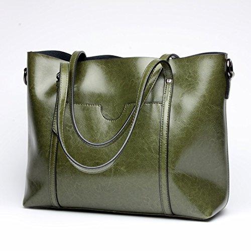 2018 New Women's Shoulder Bag Fashion Women's Bag Shopping Bag Portable Leather Bag Simple Practical Ladies Big Bag Fashion (color   Green, Size   M)