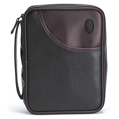 Black and Burgundy Leather Like Vinyl Bible Cover Case with Handle Large