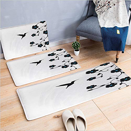 3 Piece Non-Slip Doormat 3D Print for Door mat Living Room Kitchen Absorbent Kitchen mat,Art with Hummingbird Simple Minimalistic Design,15.7