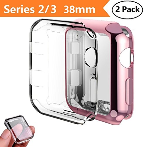 Apple Watch Series 2/3 Case 38mm,Monoy 2-Pack All Around Protective Cover Case Screen Protector for iWatch 2/3 38mm - Clear+Pink 38mm