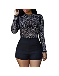 Eiffel Women's Studs Sheer Mesh Stretchy Long Sleeve Crop Tops Blouse Shirts