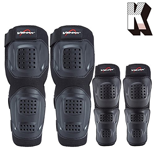 Kagogo Shin Guards Adult Elbow & Knee Pads Protector Flexible Breathable Adjustable Elbow Armor for Motorcycle Motocross Racing Mountain Bike, One size Fits Most,4 Pieces Black (Black151)