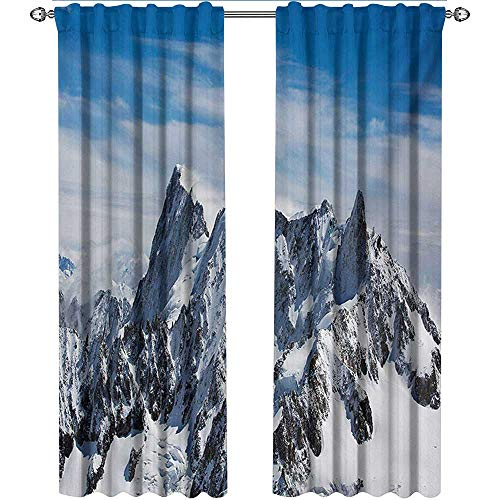 shenglv Landscape, Curtains Dining Room, Picturesque Mont Blanc Cliff to Clouds Idyllic Environment Trekking Landmark, Curtains Kids Room, W108 x L108 Inch, White Blue