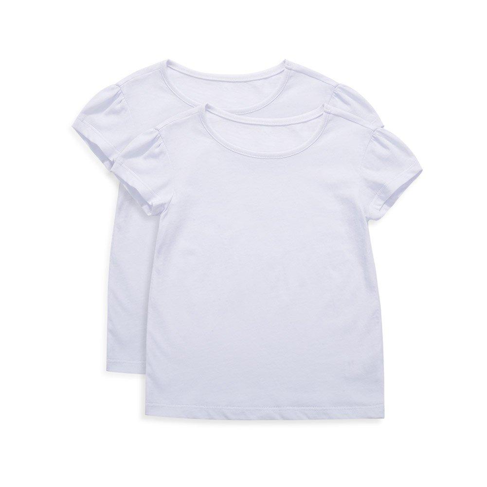 UNACOO Girls' Round Neck Basic T-Shirt Classic Short Sleeve Jersey Tee White (2-3T)