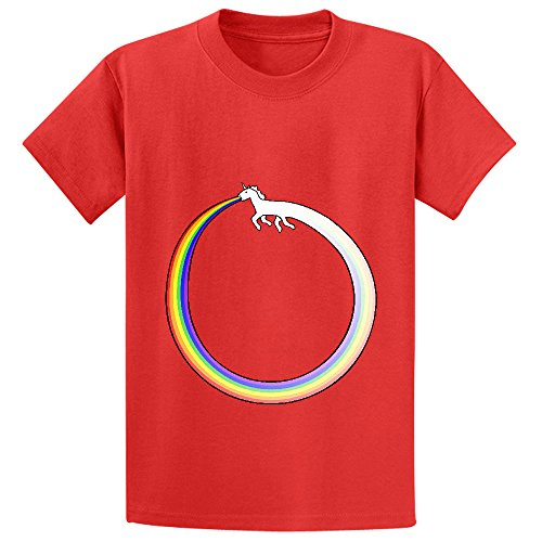 ouroboros-unicorn-rainbow-vomit-boys-crew-neck-graphic-shirts-red