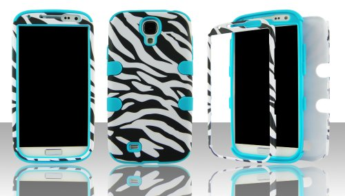 Silicone Skin Zebra (Samsung S4 i9500 hybrid 3 in 1 Black & White Zebra with Blue Gel - (Silicon Gel inside, Hard Plastic Outside) Case Cover Snap-On)