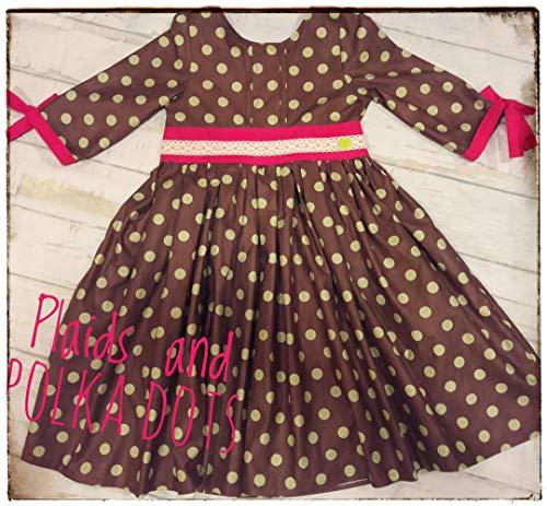 Dot Dress Pintuck (Girl's polka dot Dress, Girl's Easter dress, boutique dress, Spring dress, special occasion dress, green and brown dress, twirl dress)