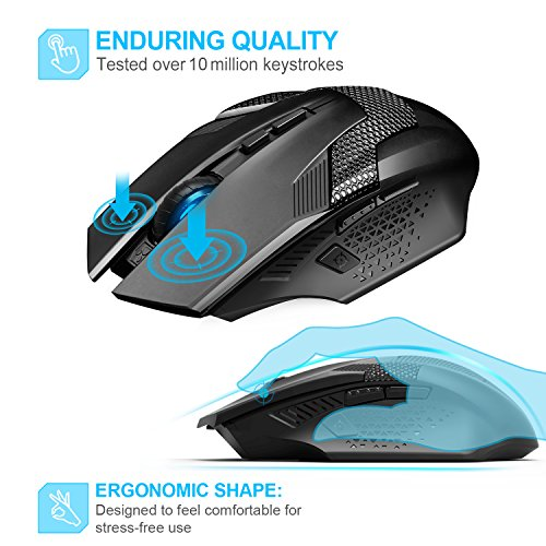 TeckNet Professional Optical Programmable Wireless Gaming Mouse With USB Nano Receiver,Premium 4800DPI Sensor,8 Buttons,Advanced Ergonomic Design,Extra Weight For Maximum Comfort & Precision