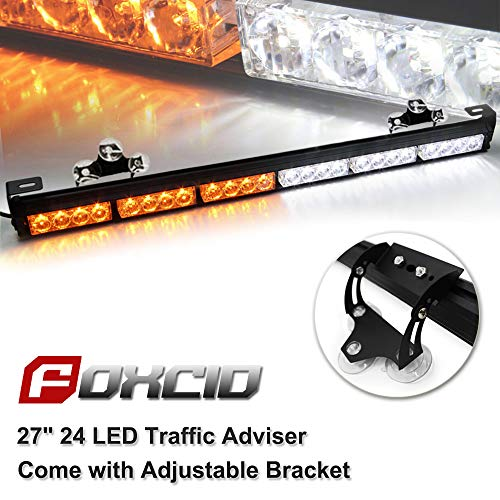 Ediors 27 24 LED 7 Modes Emergency Warning Traffic Advisor Vehicle LED Strobe Light Bar with Large Suction Cups and Cigarette Lighter (White/Yellow)