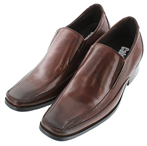 CALDEN - G60703-2.8 inches Taller - Height Increasing Elevator Shoes-Brown Slip-on Square-Toe oE1qd