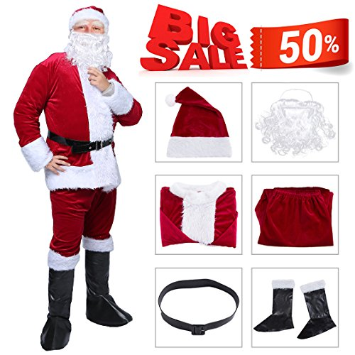 Plus Size Deluxe Santa Suit Adult Costumes (6pc Men Luxury Plush Santa Suit Adult Costume)