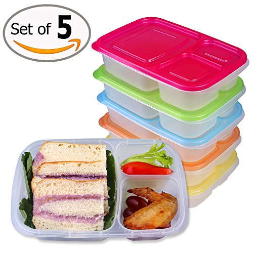 32 oz Lunch Containers 3 Compartment, 5 Packs B...