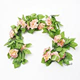 2.4 Metre (Deep Pink) Artificial Silk Rose Flower Ivy Green Leaf Vine Garland Wedding Garland Fake Flowers Home Decor