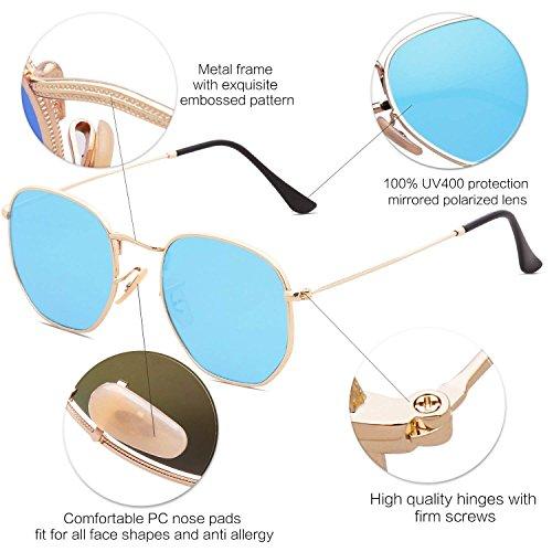C4 Frame Mirrored de Lunette Bolara Gold Blue Femme Lens soleil ITCAqw