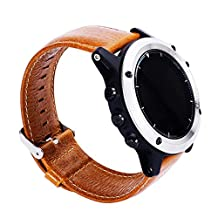 For Garmin Fenix 3 / HR, Kingfansion Replacement Soft Leather Watch Band Strap + Tool (Coffee)