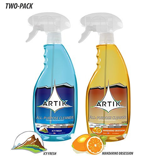 ARTIK All Purpose Cleaner, Streak Free on Glass and Stainless Steel, Child and Pet Safe, Biodegradable, ALL SURFACE, 23 Ounce Bottle, (Pack of 2) (Icy Fresh / Mandarine Obsession)
