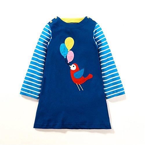 Girls Casual Dresses,Cotton Cartoon Bird Applique Long Sleeve Dress for (Casual Dress Up For Girls)