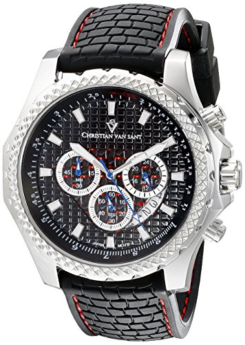 Christian Van Sant Men's CV5123 Sport Retrograde Analog Display Quartz Black Watch