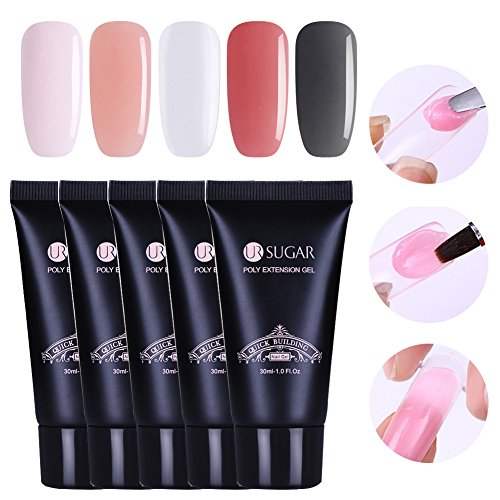 CoulorButtons 5Pcs 30ml UR SUGAR Quick Building Poly UV Builder Nail Gel Finger Extension Gel Nude Pink Clear Gray Base Poly Quick Gel Starter Kit -