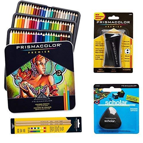 Prismacolor 72-Count Colored Pencils, Triangular Scholar Pencil Eraser, Premier Pencil Sharpener, and Colorless Blender Pencils by Prismacolor (Image #1)