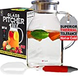 Glass Water Pitcher with TIGHT Lid 68 ounces, THICKER Heat Resistant Borosilicate Glass