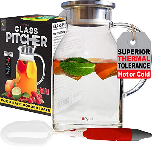 Glass Water Pitcher with TIGHT Lid 68 ounces, THICKER Heat Resistant Borosilicate Glass Carafe with...