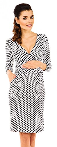 Zeta Ville - Womens Maternity 3/4 Sleeves Empire Dress - V-Neckline - 019c (White with Dots, US 14, - Maternity Pleat Dress Sleeve