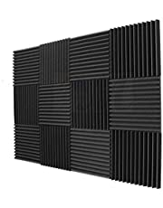 10 Pack- Burgundy/Charcoal Acoustic Panels Studio Foam Wedges Sound insulation board-BLACK