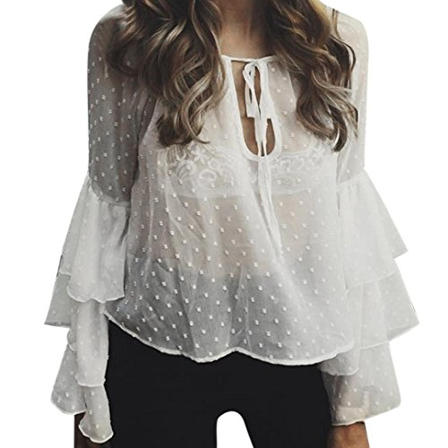 Price comparison product image Haoricu, 2017 Women Lace Up Perspective Long Sleeve Chiffon Shirt Tops (White,  XL)