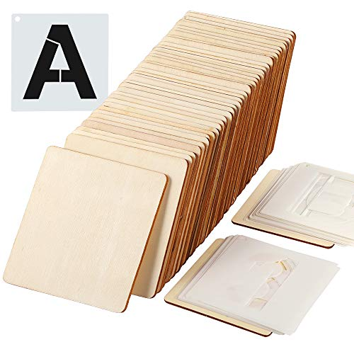 Caydo 50 Pieces 4 x 4 inch Christmas Unfinished Square Wood Slices Blank and 36 Pieces Letter Stencils for Coasters, Pyrography, Painting, Writing, and Home Decorations