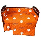 Clemson Tigers 5 Piece Crib Set and Set of Two (2) Matching Window Valance/Drape Sets (Drape Length 63'') - Entire Set includes: (1) Reversible Comforter, (1) Bed Skirt , (2) Fitted Sheets, (1) Bumper Pad and (2) Matching Window Valance/Drape Sets to Decor