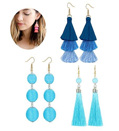 LOLIAS 3 Pairs Long Thread Tassel Earrings Set for Women Girls Beaded Fringe Tassel Earrings Gradient,Blue by LOLIAS (Image #7)