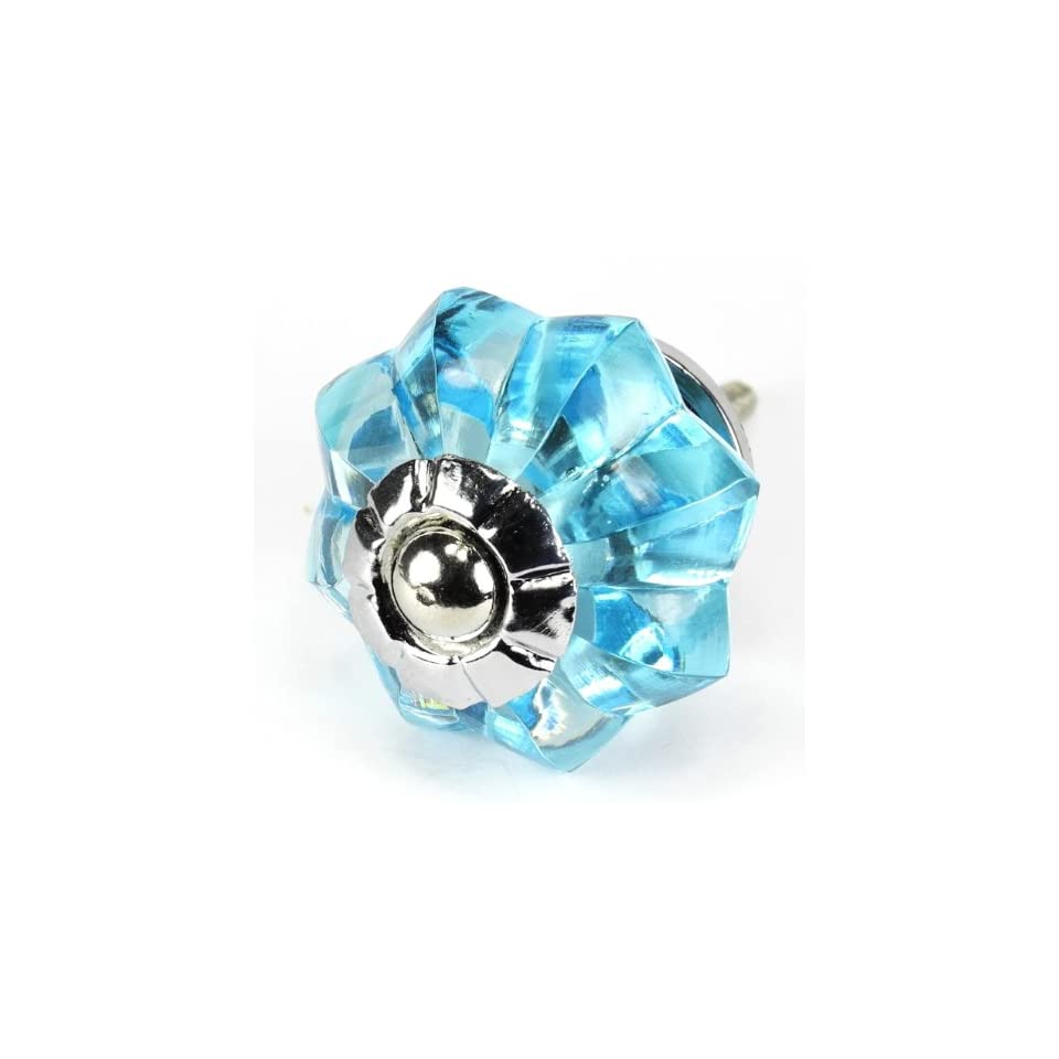 Sky Blue Glass Cabinet Knobs, Kitchen Drawer Pulls & Handles Set/2pc ~ K176RL Brilliant Sky Blue Glass Melon Knobs with Chrome Hardware for Dresser, Kitchen Cabinets and Cupboards