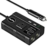 Tesla's Power Inverter Car Charger, 120W DC 12V/24V to 110V AC Converter with 2-Socket Cigarette Lighter Splitter, 4.5A Dual USB Charging Adapter and ON OFF Switch