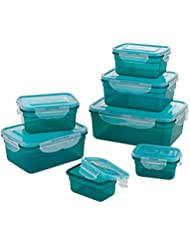 GOURMETmaxx 02914 BPA-Free Food Storage Container-Set, 14 Pieces   Suitable for Dishwasher, Freezer, Microwave   Clip Lid Food Container   Air tight, liquid proofed and Aroma Safe