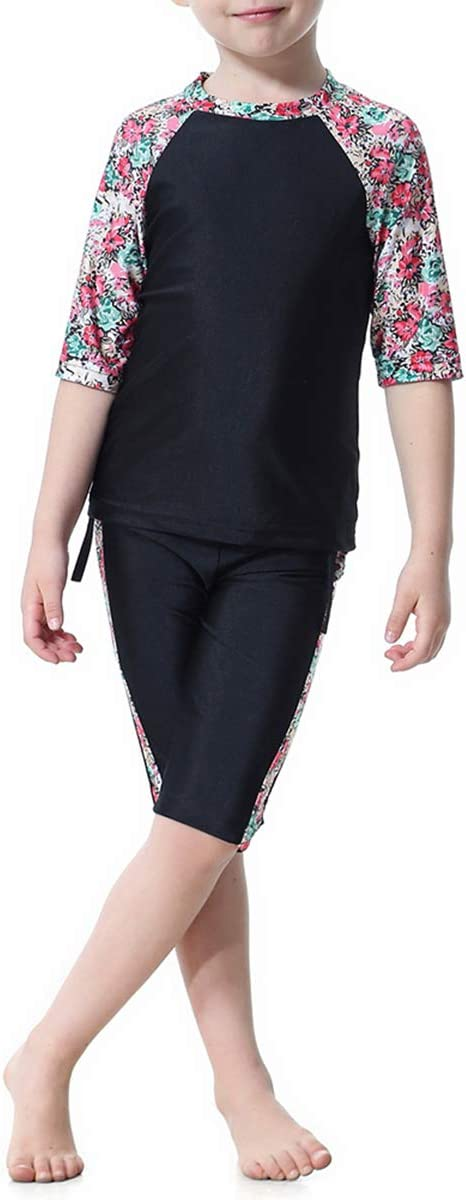 1 Pc Muslim Arab Girls Swimsuit Short-Sleeved Top and Short Suit Conservative Split Swimwear H2006 for Girls and Teens-150cm Black