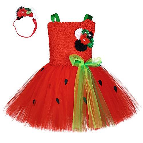 Toddler Watermelon Costume (MOCUER Watermelon Role Play Dress Costume for Kids Girls Halloween Birthday Cosplay Fruit Tutu Dress)