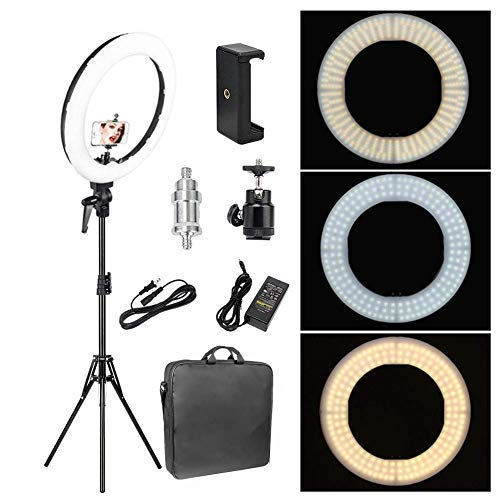 (Zomei 18-inch LED Ring Light 50W 3200-5500K White Color and Orange Color Changing Directly Lighting Kit with Tripod Stand Ball Head and Phone Adapter for Camera Smartphone YouTube Video Shooting)