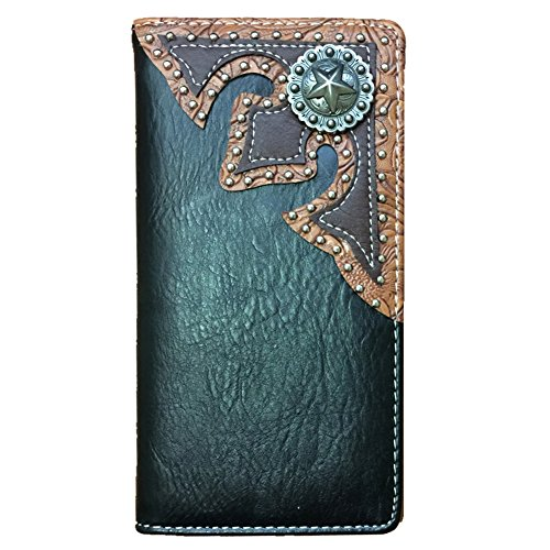 Concho Collection (2015 Lone Star Men's Collection Concho Soft Leather Bifold Wallet, Extra Checkbook.)