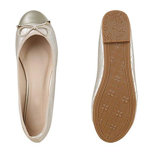Bequeme Damen Ballerinas Flats Gesteppt Schleifen Stoffschuhe Slipper Lack Glitzer Leder-Optik Ballerina Schuhe Flandell Gold Gold