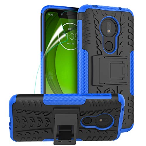 (Phone Case for Motorola Moto G7 Play with Screen Protector Kickstand for Men Women Heavy Duty Cell Phone Shockproof Cover Skin TPU, Blue)